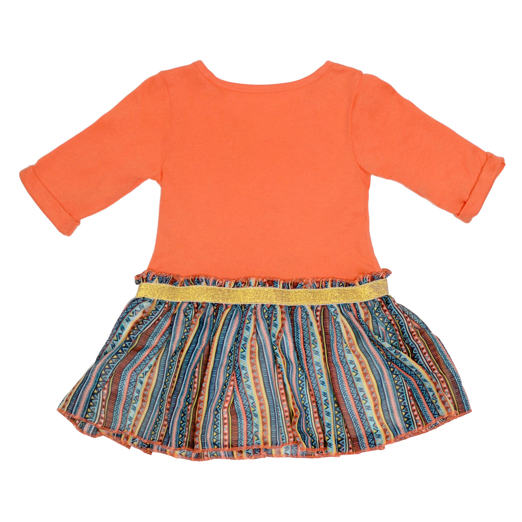 Back of Disney Lion Guard longsleeve orange dress with tribal colorful flowy skirt in blue green yellow with rolled sleeves