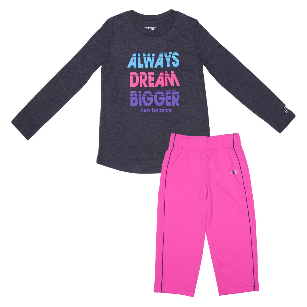 Toddler girls New Balance 2 piece set with grey longsleeve graphic tee shirt Always Dream Bigger verbiage and pink pants