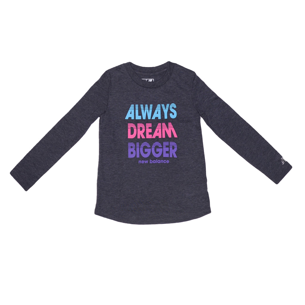 Toddler girls New Balance 2 piece set with grey longsleeve graphic tee shirt with colorful Always Dream Bigger verbiage