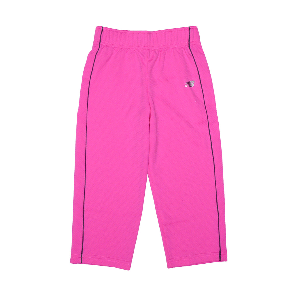 Toddler girls New Balance 2 piece set showing pink athletic track sweat pants with athletic piping down side