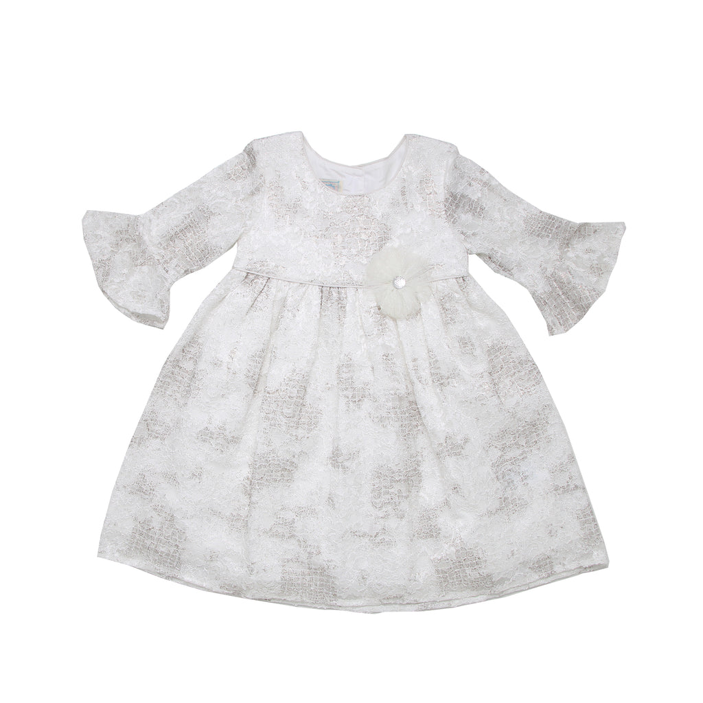 Little toddler girls fancy formal lined white dress with half bell sleeves and lace overlay with shiny silver tulle flower