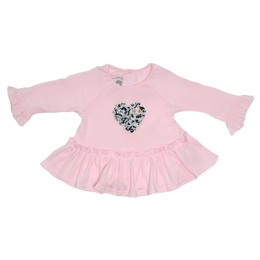 Front of girls pink longsleeve sweater with bell sleeves and ruffle hem and 3d black and white tulle heart design