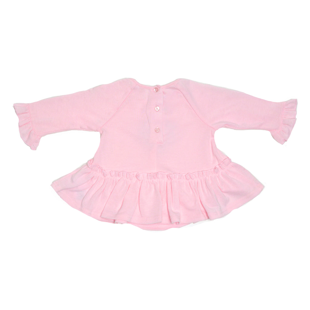 Back of girls pink longsleeve sweater with bell sleeves and ruffle hem showing three button back closure
