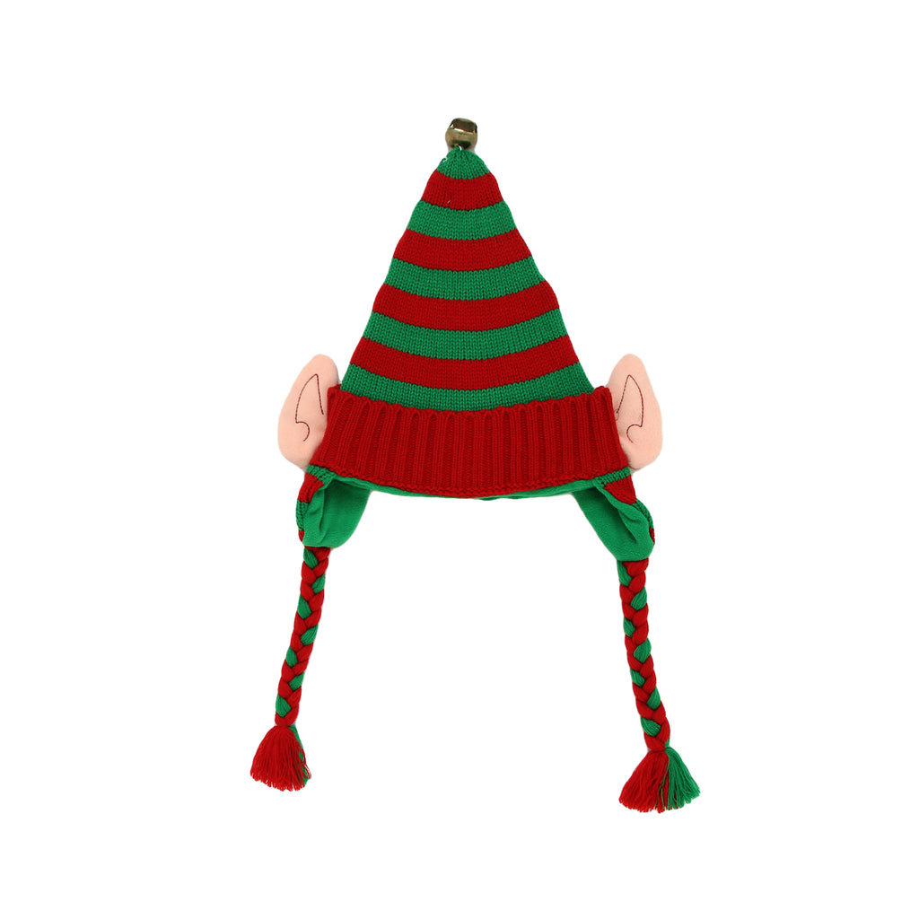 Holiday Kids Christmas Knit 3D Elf Ear Jinglebell Hat Cap Peruvian Style With Braided Tassels with Festive Holiday Color Scheme