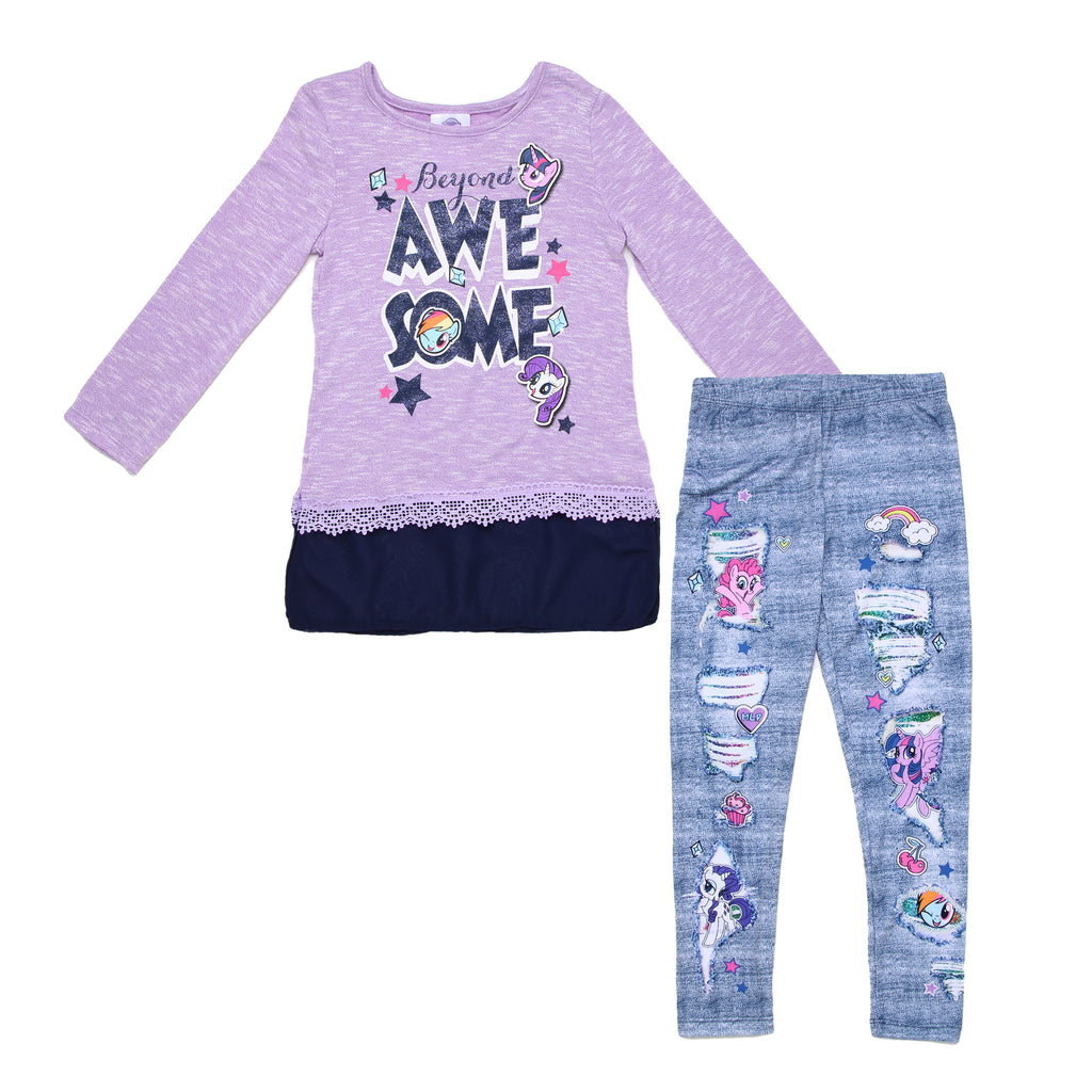 Girls 2 piece My Little Pony set with purple long sleeve tee shirt and blue chiffon tunic and faux denim leggings