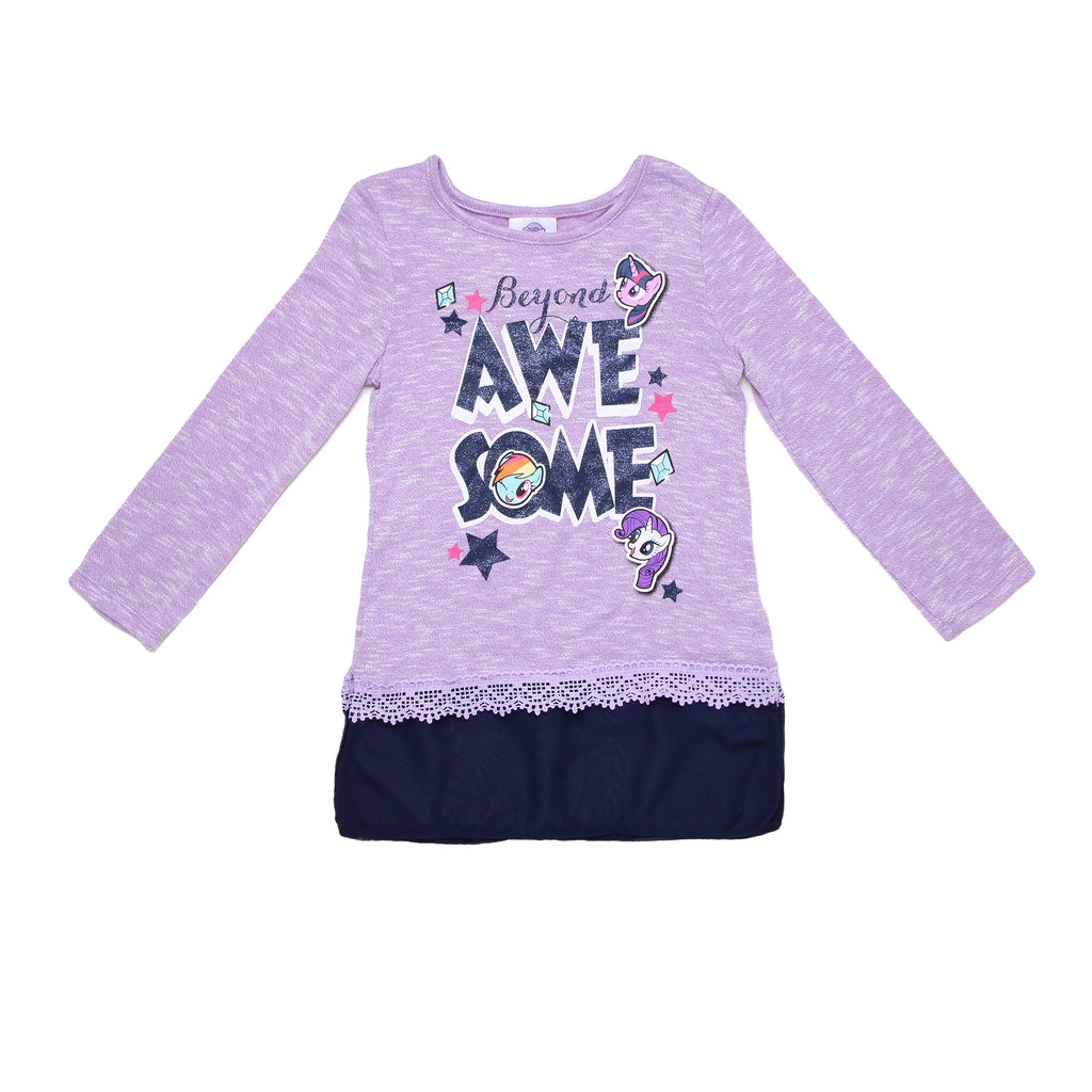 Girls My Little Pony longsleeve crewneck graphic tee shirt with animal character designs and navy blue chiffon tunic detail