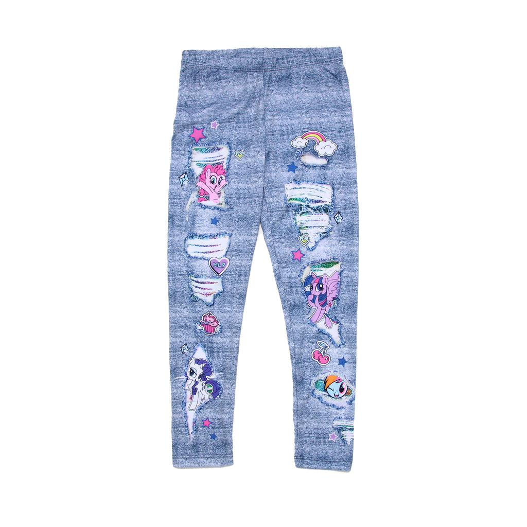 Girls My Little Pony faux denim jeans stretch legging pants with fake rips and holes and animal character design