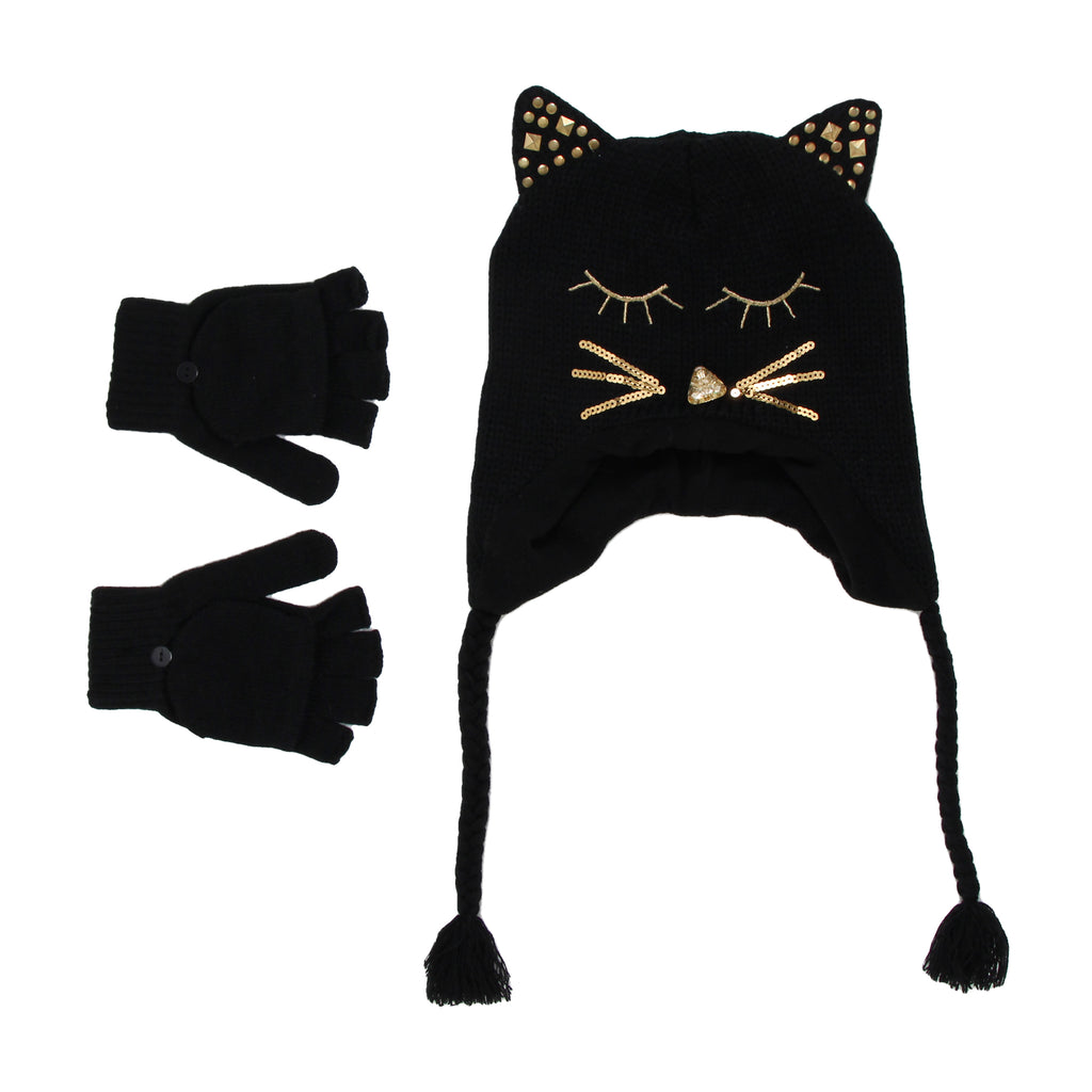 Girls black hat and glove set with sequin cat ears rhinestone face detail with braided tassels and convertible glove mitten