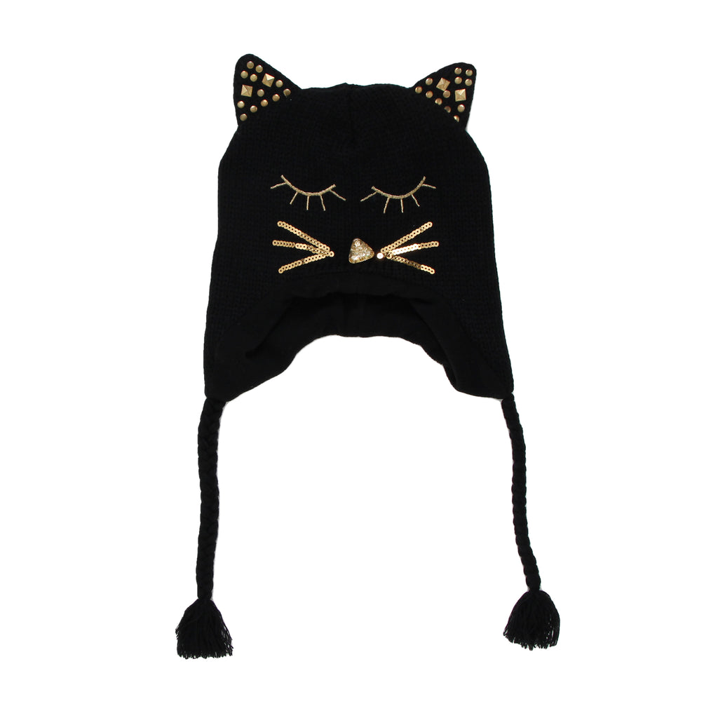 Girls hat in black with sequin cat ears rhinestone face detail with braided tassels embroidered animal face winter cap
