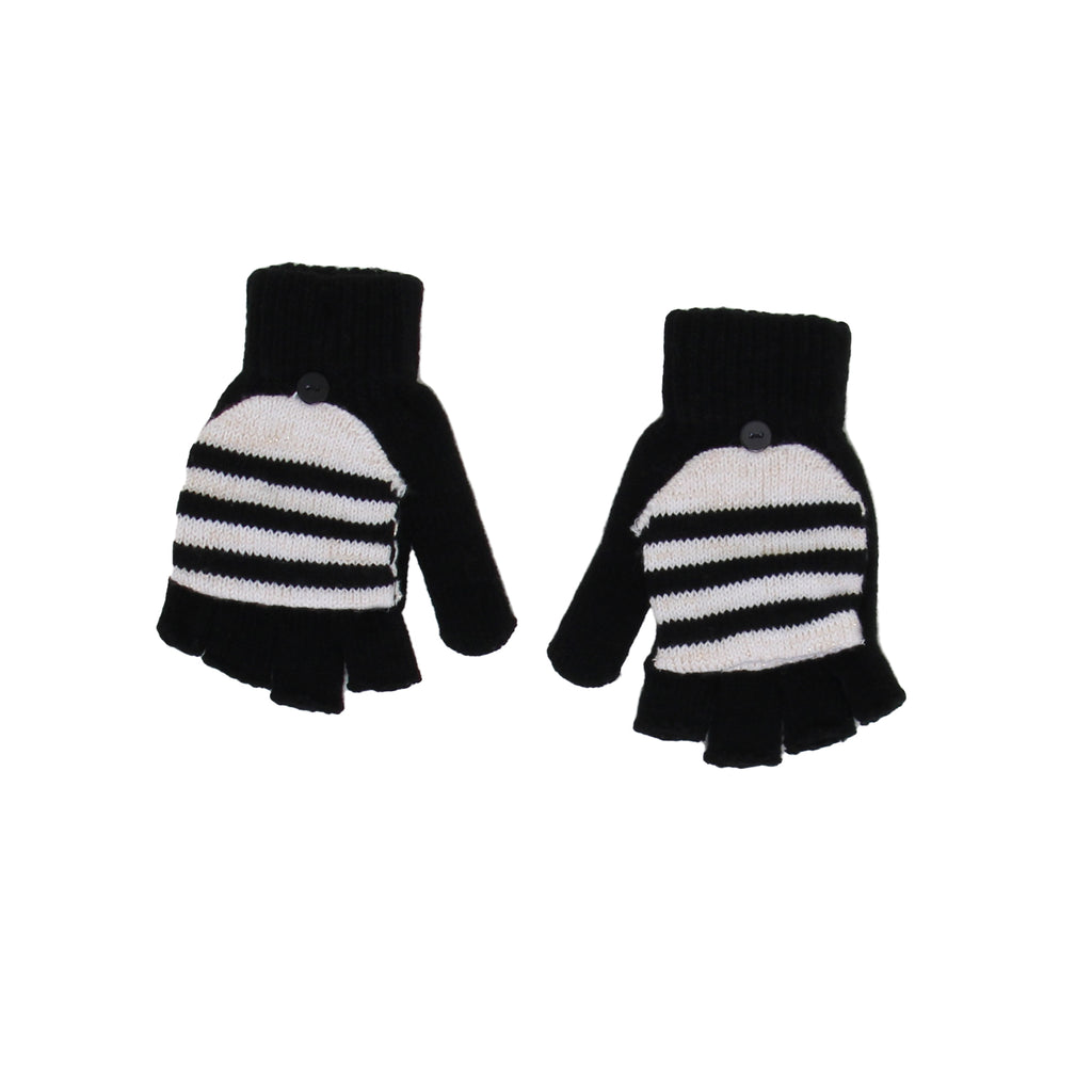 Big Girls Convertible Fingerless Gloves With Mitten Flap
