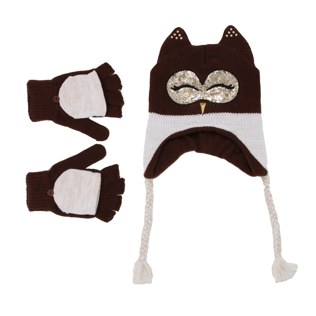 Big Girls 3D Animal Face Winter Hat With Convertible Glove Mittens Includes Peruvian Style Hat