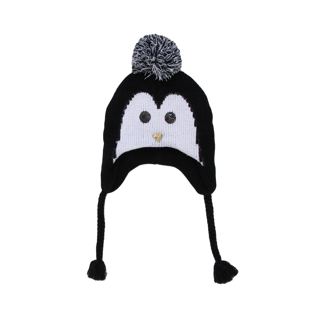 Big Girls 3D Animal Face Winter Hat Peruvian Style Hat With Pom Poms And Tassels Details Include Ears Studs Sequins Faux Fur