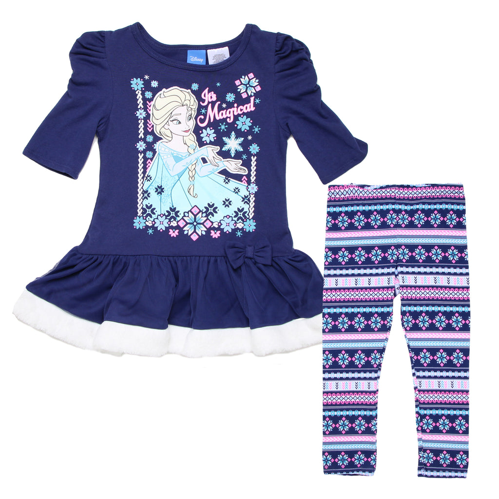 Toddler girls Frozen two piece clothing set with blue longsleeve top with shirred shoulders and matching patterned leggings
