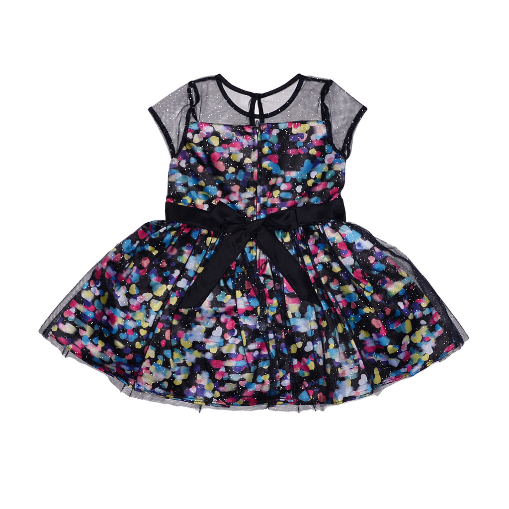 Betsey Johnson Toddler Girls Black Holiday Special Ocassion Dress Short Sleeve A Lined with Tulle Overlay and Sleeves Zipper and Eyelet Back Closure