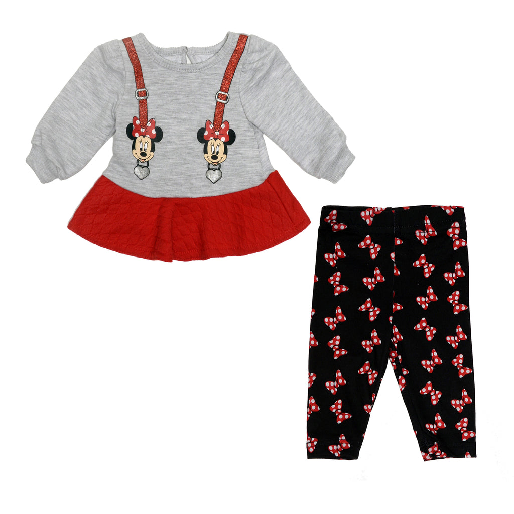 Baby girls two piece Minnie Mouse Disney character set sweater and heart suspender designs and allover print bow leggings