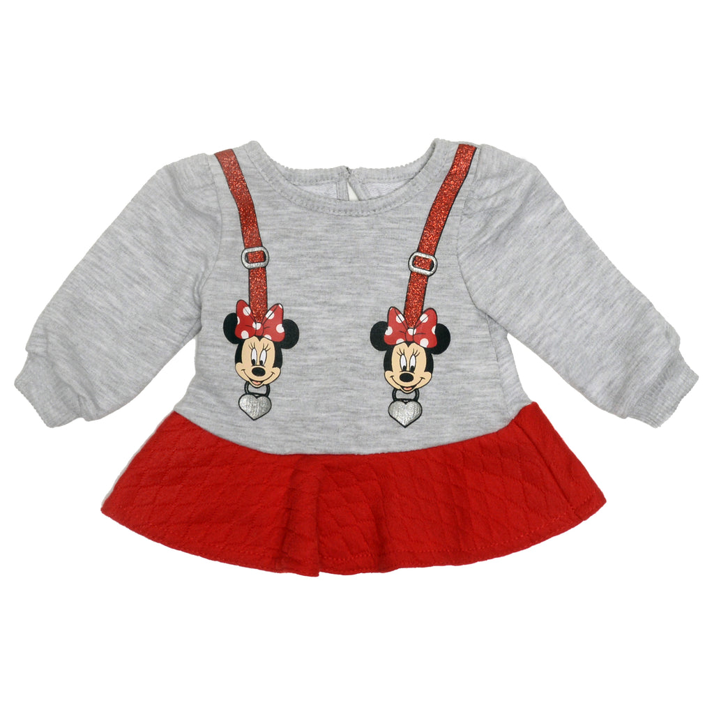Baby girls crewneck gray sweater with Minnie Mouse Disney character glitter heart suspender designs and red ruffle hem