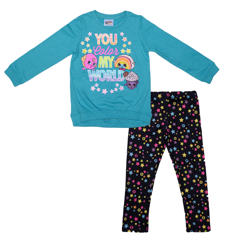 Girls long sleeve sweat shirt with glitter design and matching stretch fabric leggings in black with multicolor stars