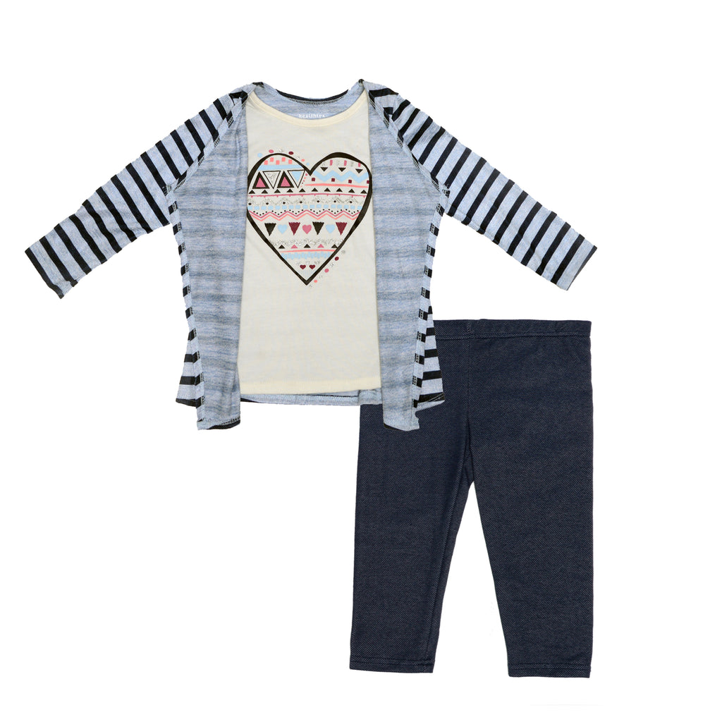 Girls two piece sweater set with striped blue cardigan sweater and attached aztec print heart design with legging pants