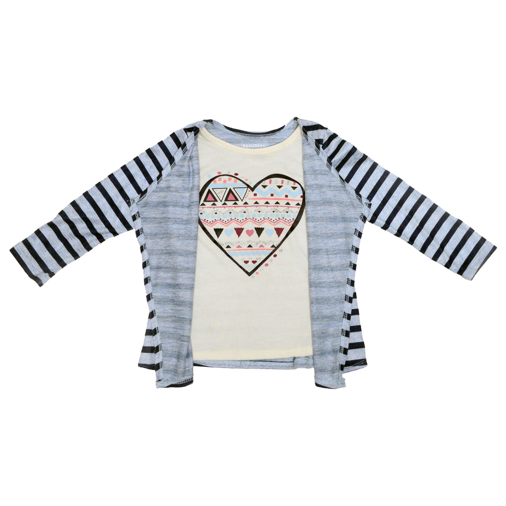 Girls sweater with striped blue cardigan layered over mock layer white tee shirt with aztec tribal heart screenprint design