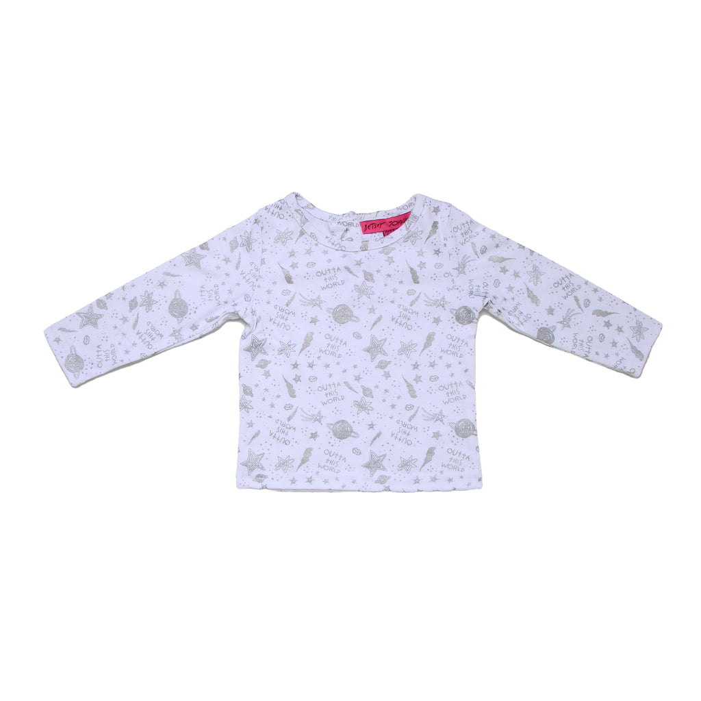 Baby girls Betsey Johnson white longsleeve graphic tee shirt with silver allover space theme planet star print design