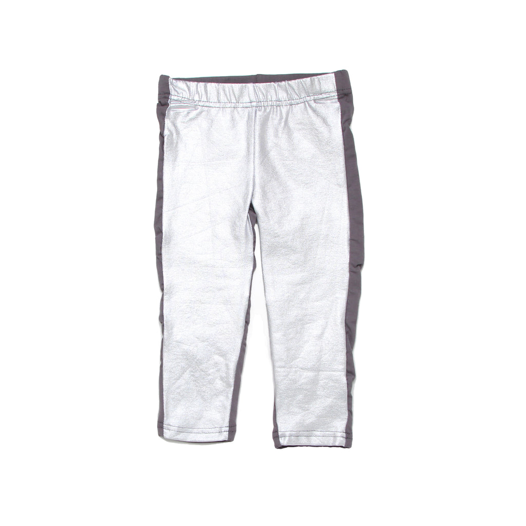 Baby girls Betsey Johnson shiny silver shimmer metallic legging pants bottoms part of a space themed three piece set