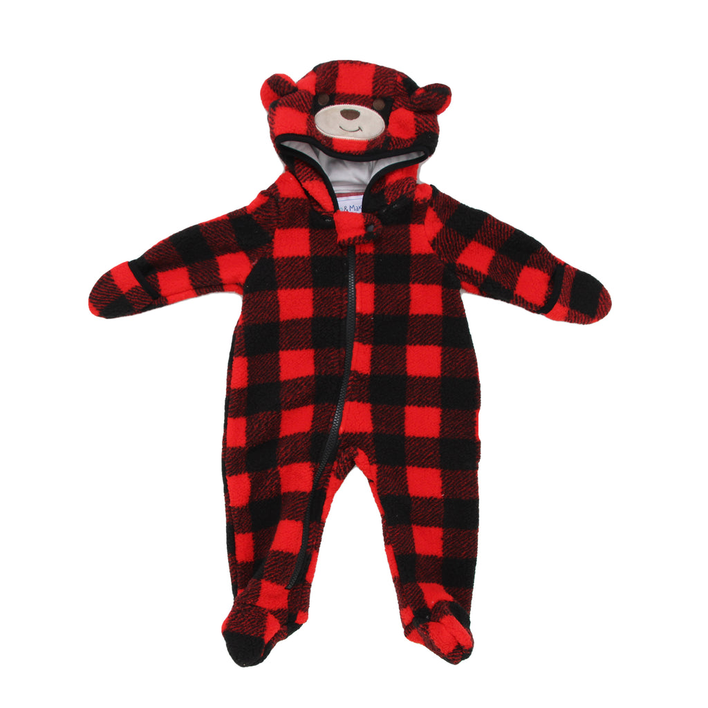 Kiko & Max Baby Boys Plaid Sherpa Covered Footie Mitten Hooded Pram with Full Front Zipper and 3D Bear Ears Embroidered Bear Face Detailing On Hood