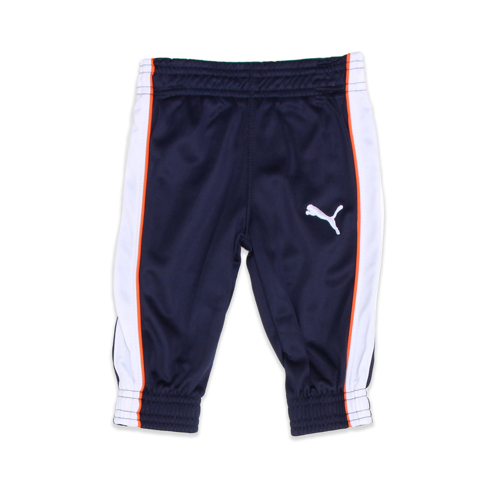 PUMA Baby Boys jogger track pants come with Elastic Cinch Cuffs And Hem and also Feature Athletic Striping Down Leg
