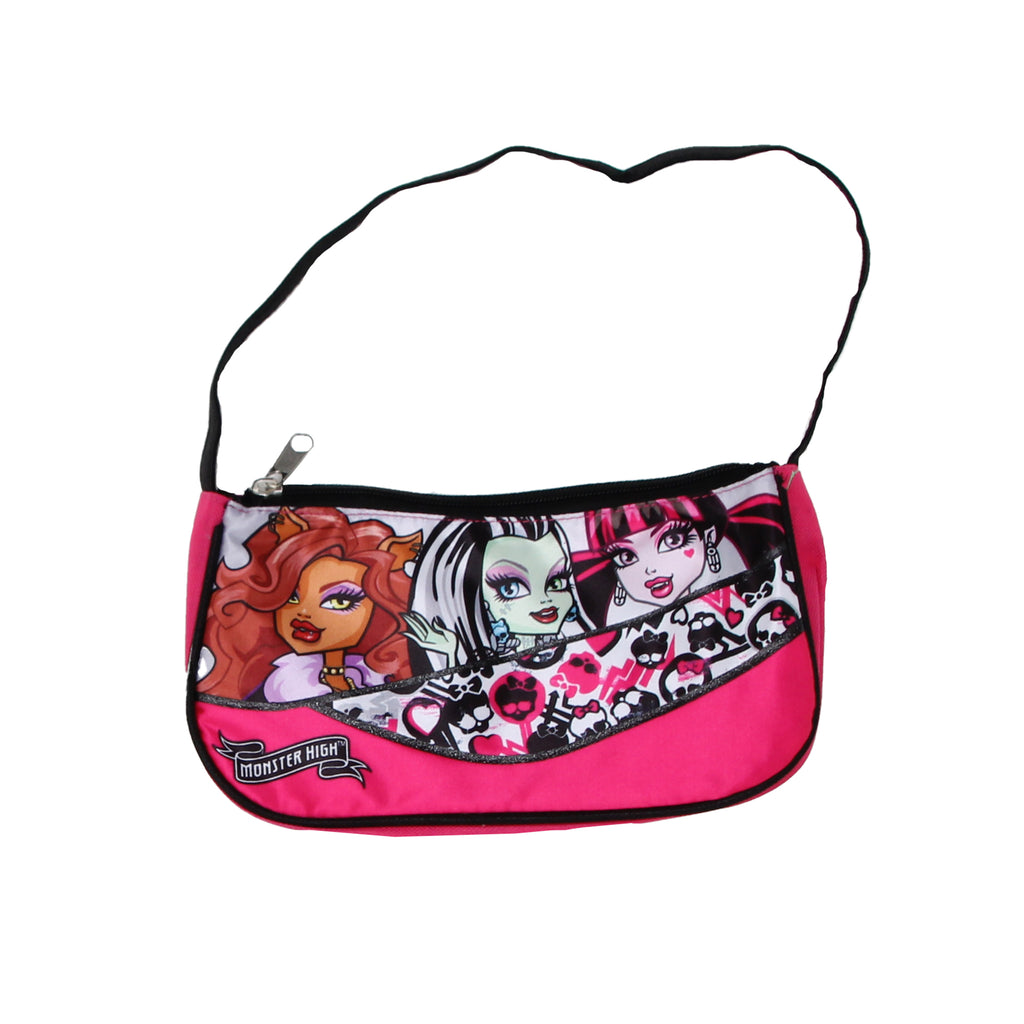 Monster High Little Girls Shoulder Purse Clutch Handbag with Frankie Stein Draculaura and Clawdeen Wolf Character Print Design