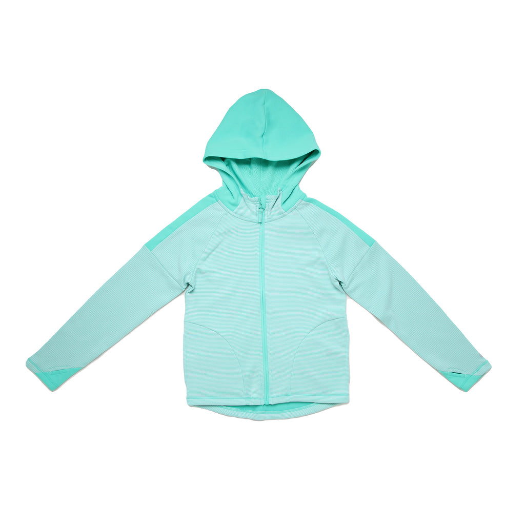 Little and big girl Champion full front zippered hooded zipup sweat shirt hoodie with green and white stripes and solid hood