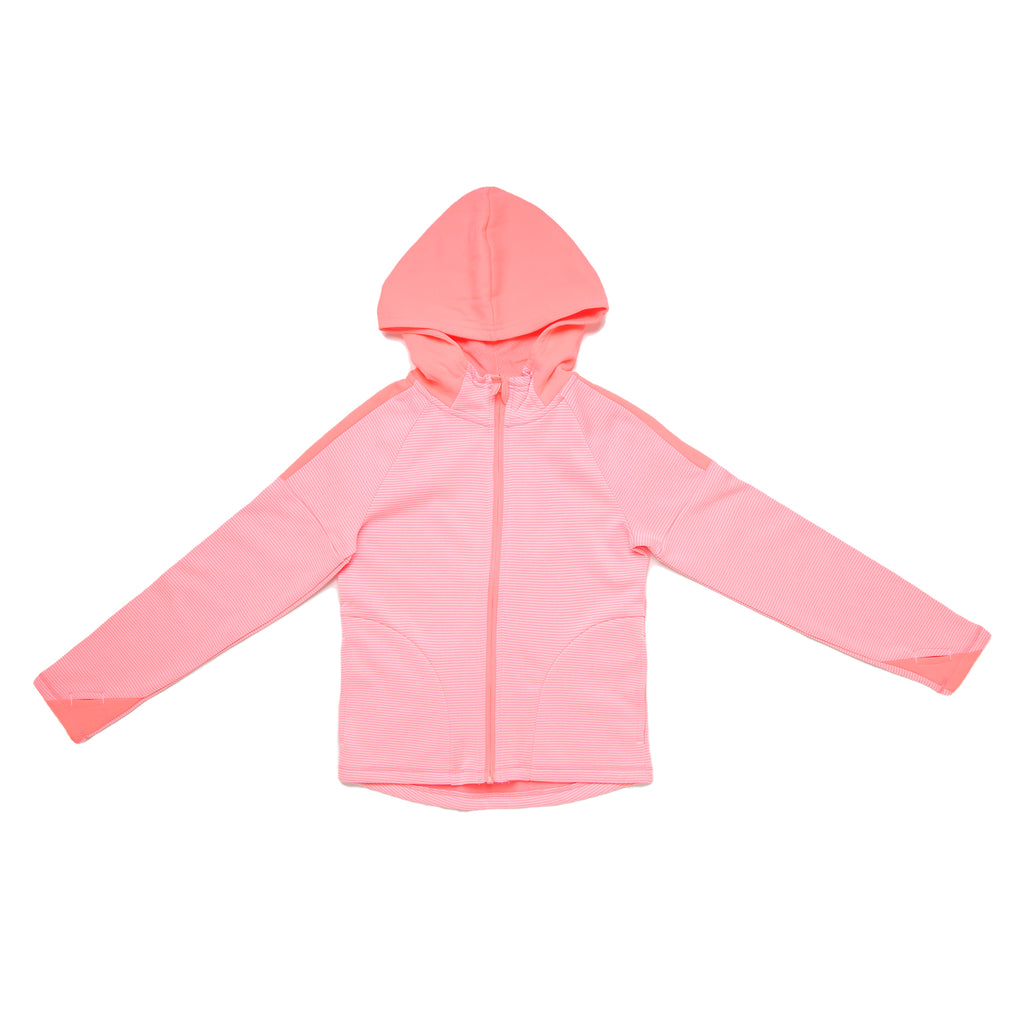 Little and big girl Champion full front zippered hooded zipup sweat shirt hoodie with orange and white stripes and solid hood