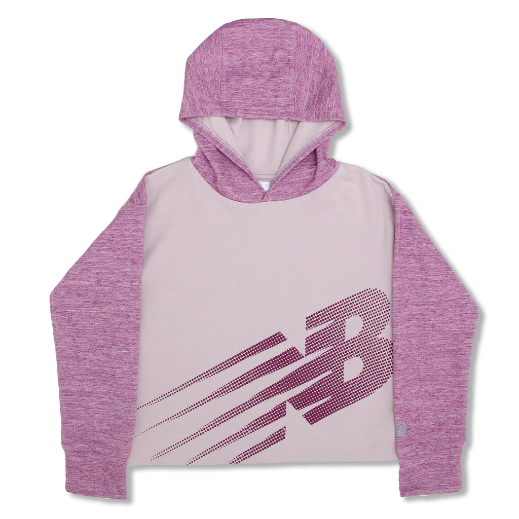 New Balance Big Girls Athletic Pullover Hoodie Sweatshirt Panel Constructed Design New Balance Dot Logo Across Front
