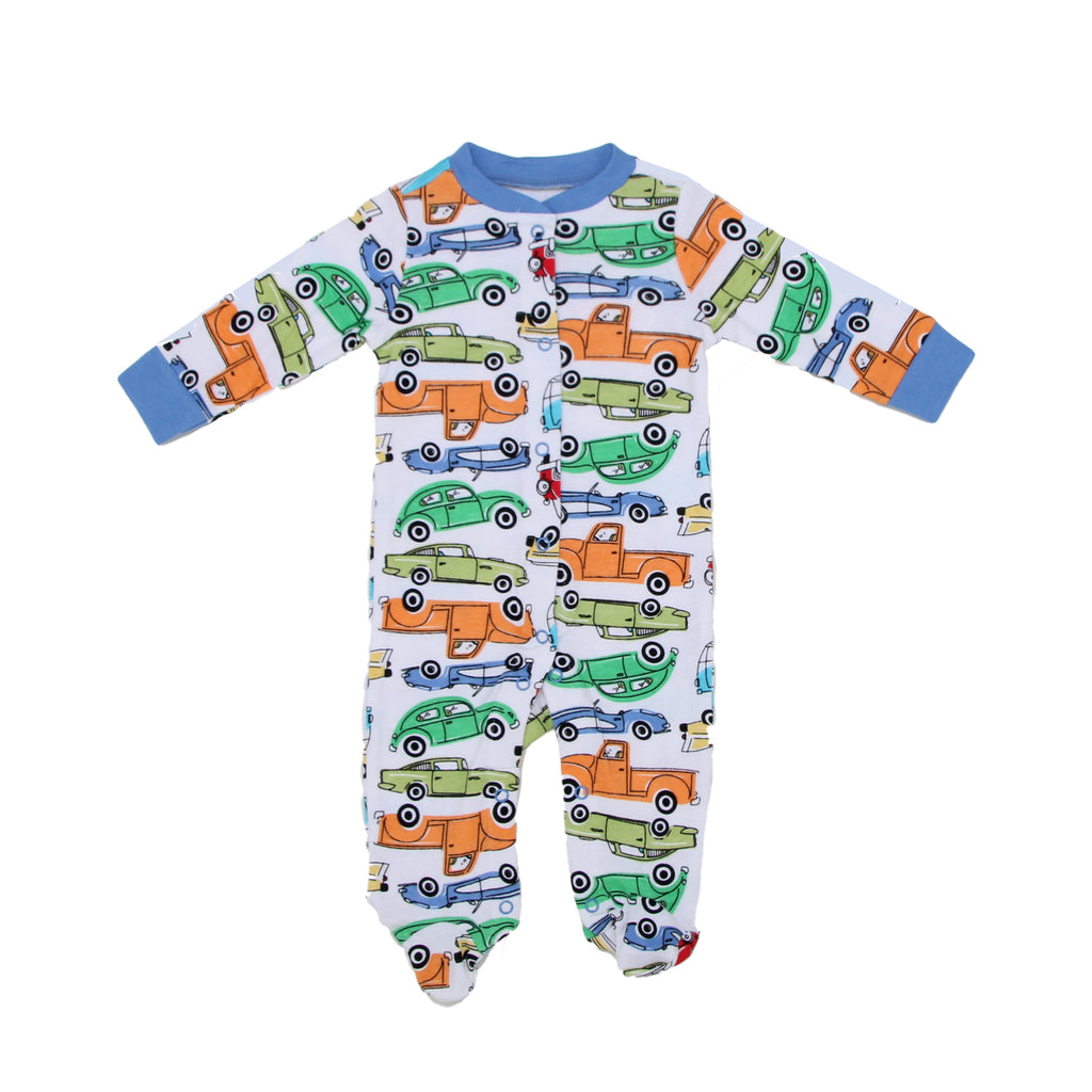 Mini B Baby Boy Longsleeve Footed Onesie Pajama Features Allover Car Print and Full Front Snap Closure For Easy On and Off Changing