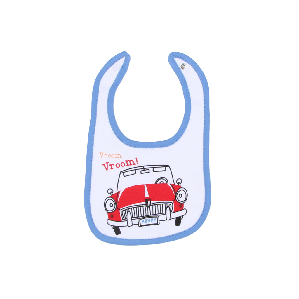 Mini B Baby Boy matching Bib Features Vroom Vroom Verbiage and classic red Car Design