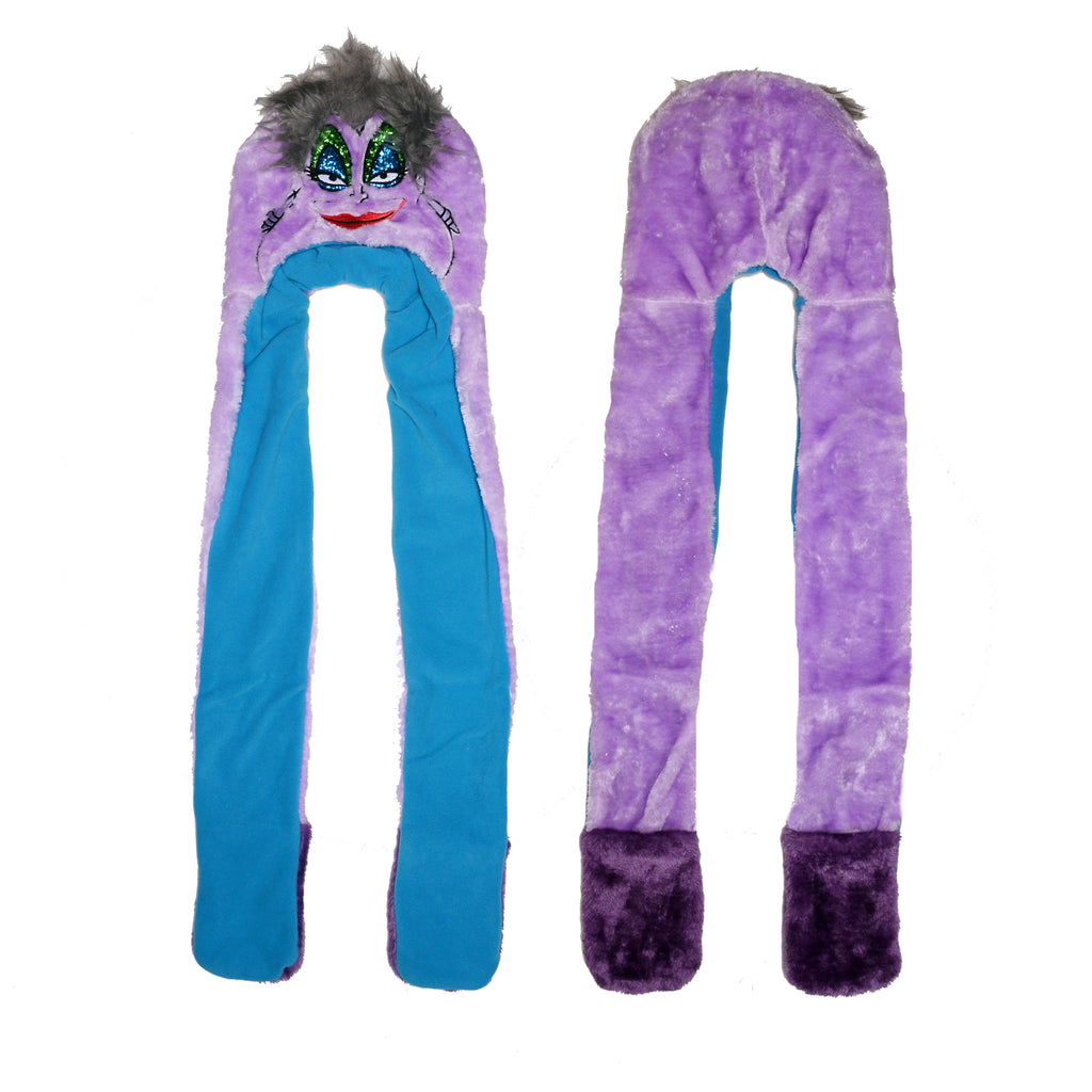 Front and back view of girls Disney Little Mermaid Ursula villain plush fuzzy spirit hood hat with gray hair and face makeup