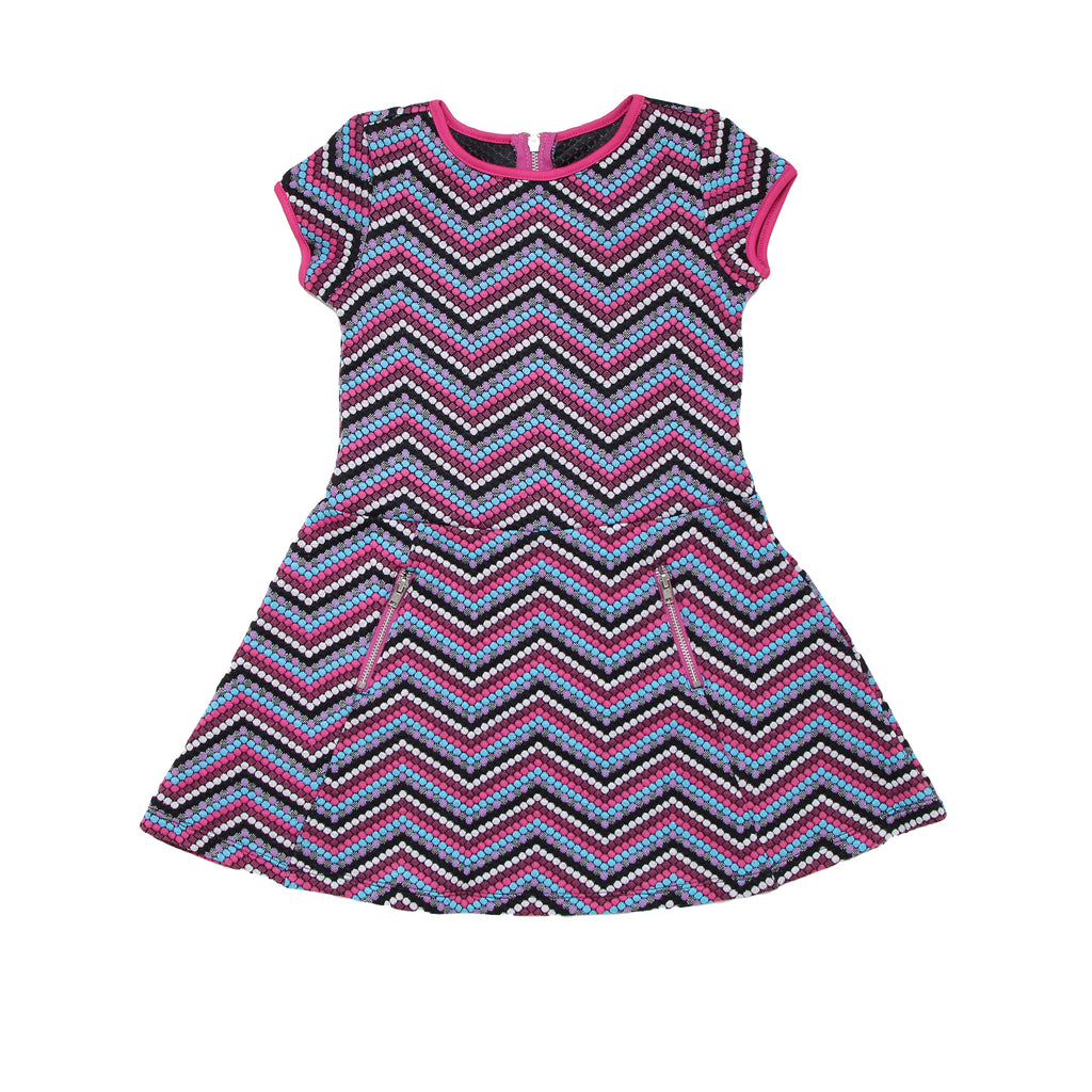 Little girls shortsleeve woven dress with colorful pink blue chevron zig zag pattern design with two side zipper pockets
