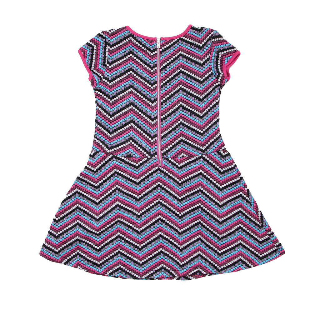 Back of little girls shortsleeve woven dress with colorful pink blue chevron zig zag pattern design showing back zipper
