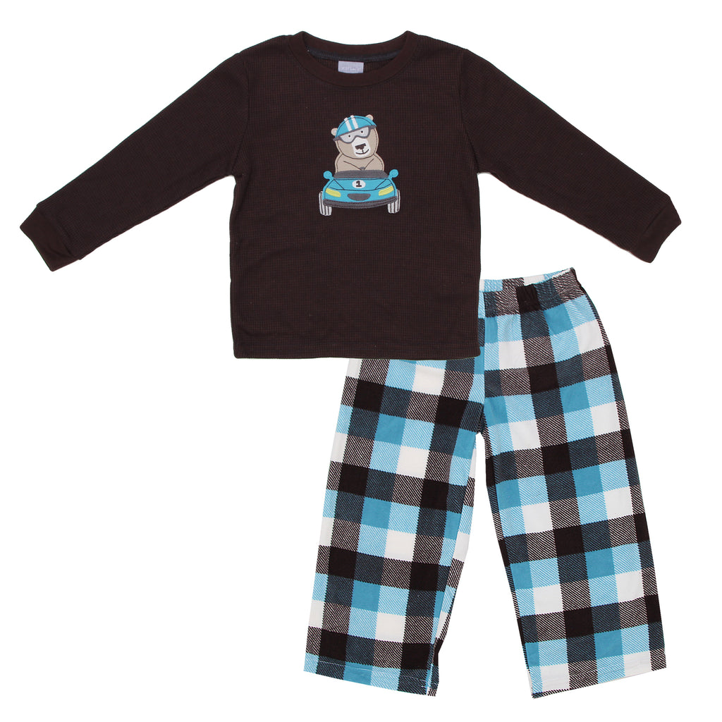 Carters Toddler Boys 2 Piece Thermal Top Microfiber Pants Pajama Set Includes Longsleeve Top And Microfiber Plaid Pants
