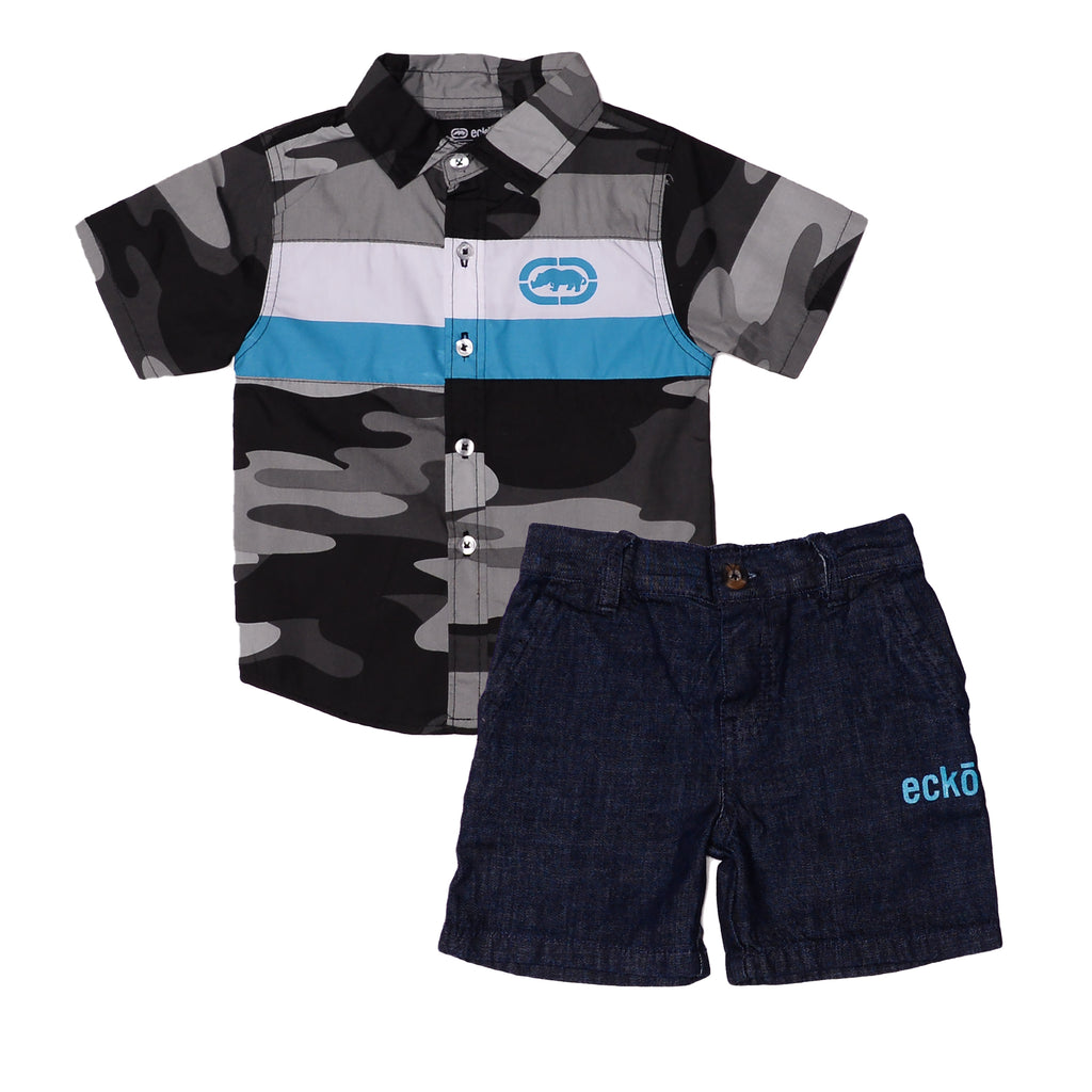 Toddler boys Ecko brand two piece set with gray camo collared button down short sleeve tee shirt and dark denim jean shorts