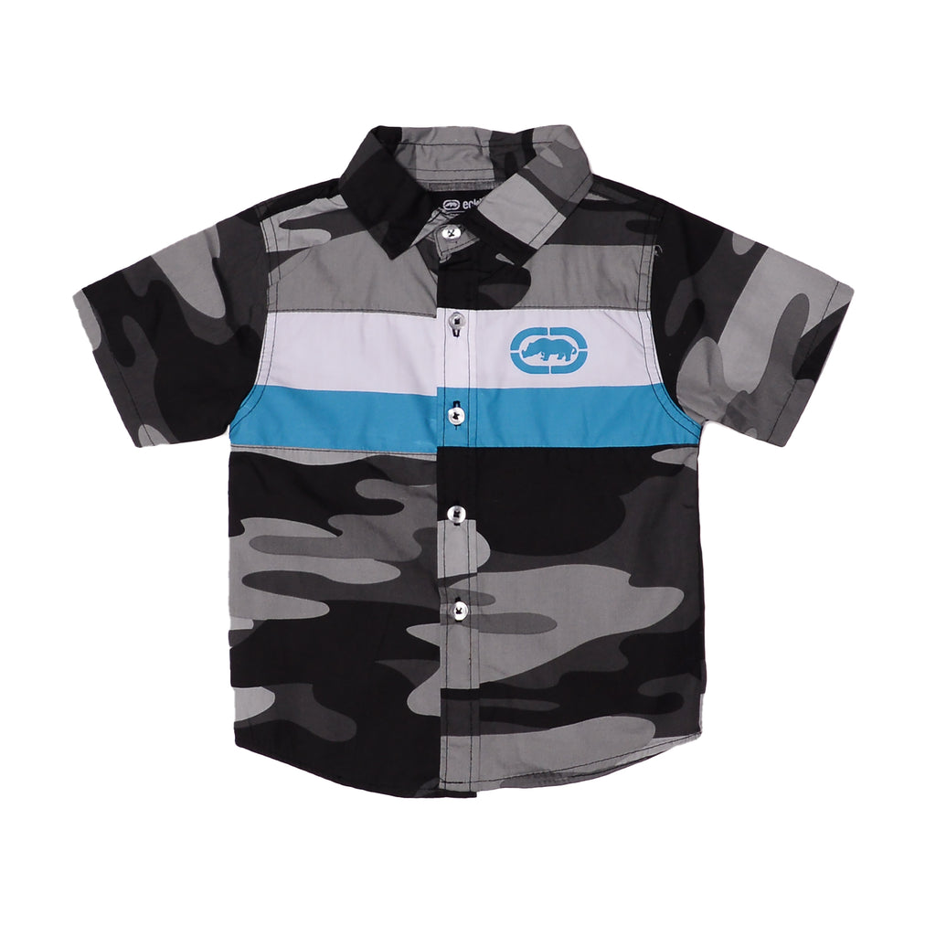 Toddler boys Ecko brand gray camo collared button down short sleeve tee shirt with white and turquoise stripe with rhino logo