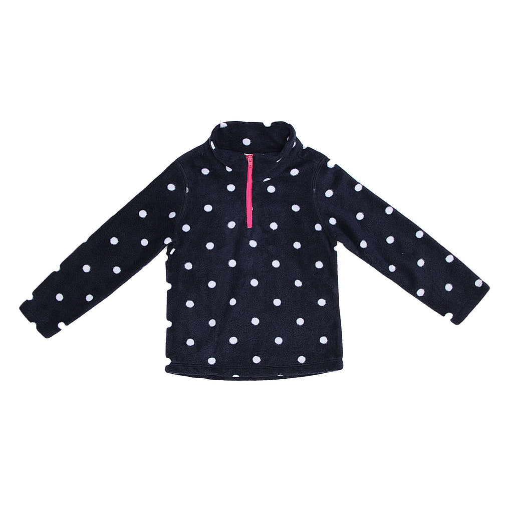 French Toast Toddler Girls Fleece Quarter Zip Polka Dot Sweater with Contrast Hot Pink Quarter Zipper