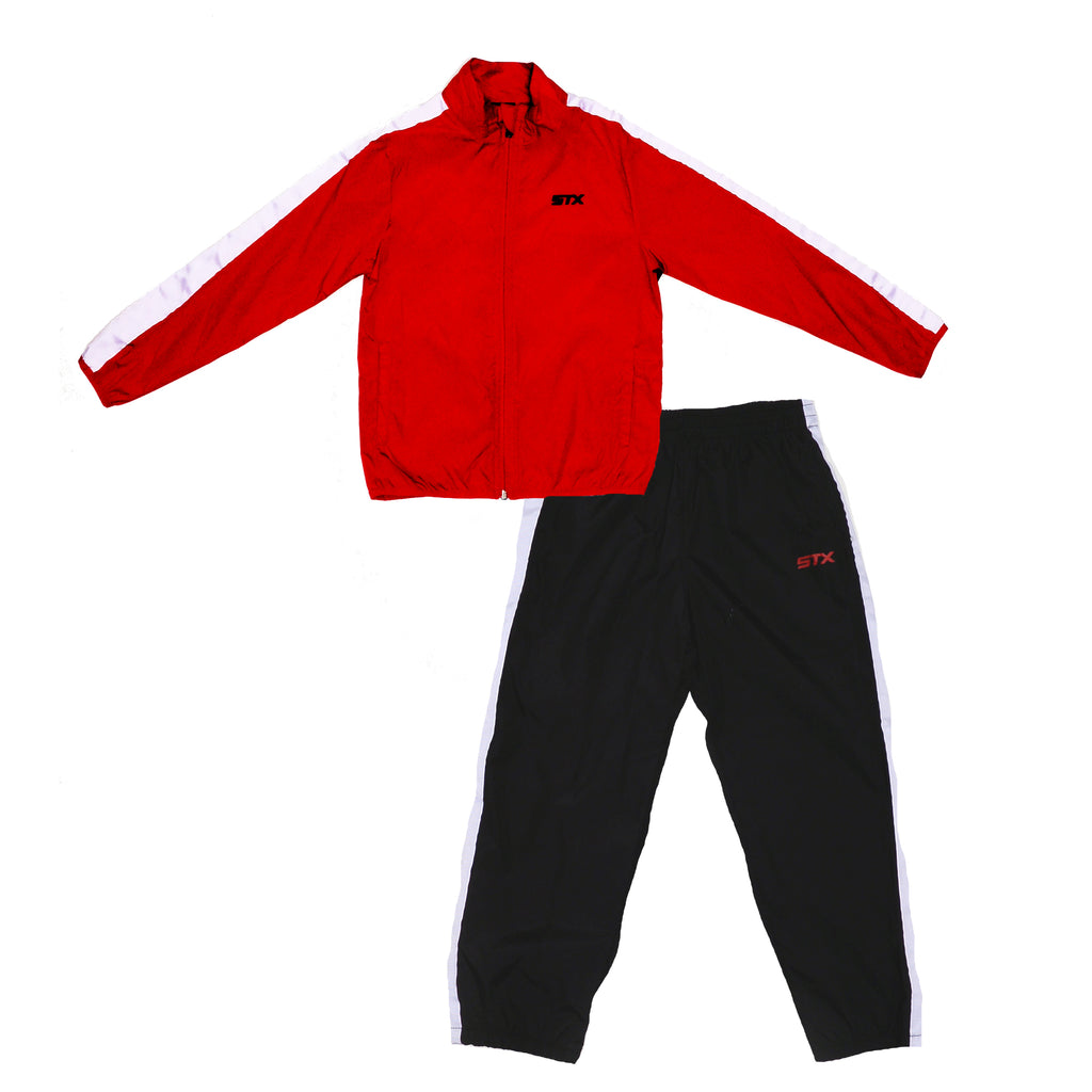 Boys two piece windbreaker tracksuit set with longsleeve zipup red track jacket and matching black track pants