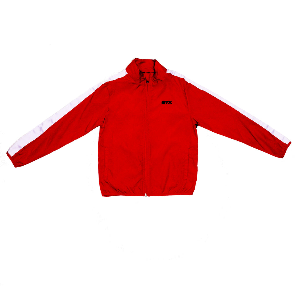 Boys red and white swishy windbreaker long sleeve track jacket with full front zipper and STX logo on chest