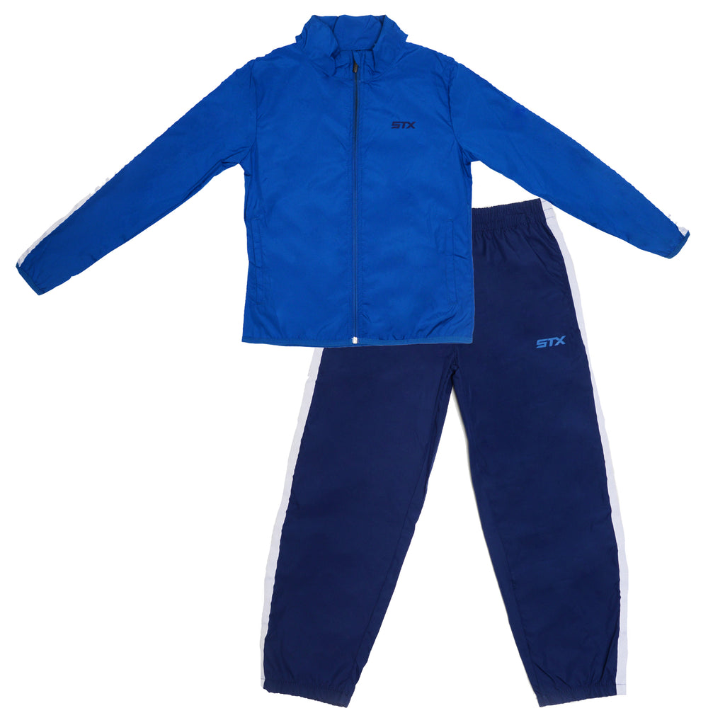 Boys two piece windbreaker tracksuit set with longsleeve zipup blue track jacket and matching black track pants
