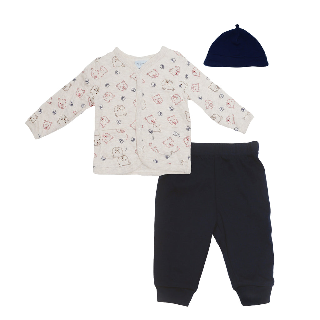 Baby boys three piece set with cream colored quilted longsleeve cardigan sweater with bear faces cotton pants and beanie hat