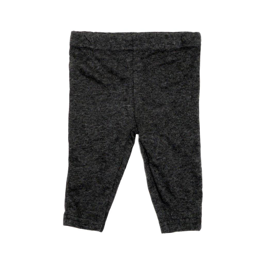 Baby girls charcoal heather grey sweat pants with cinch bottom cuff joggers part of a three piece set
