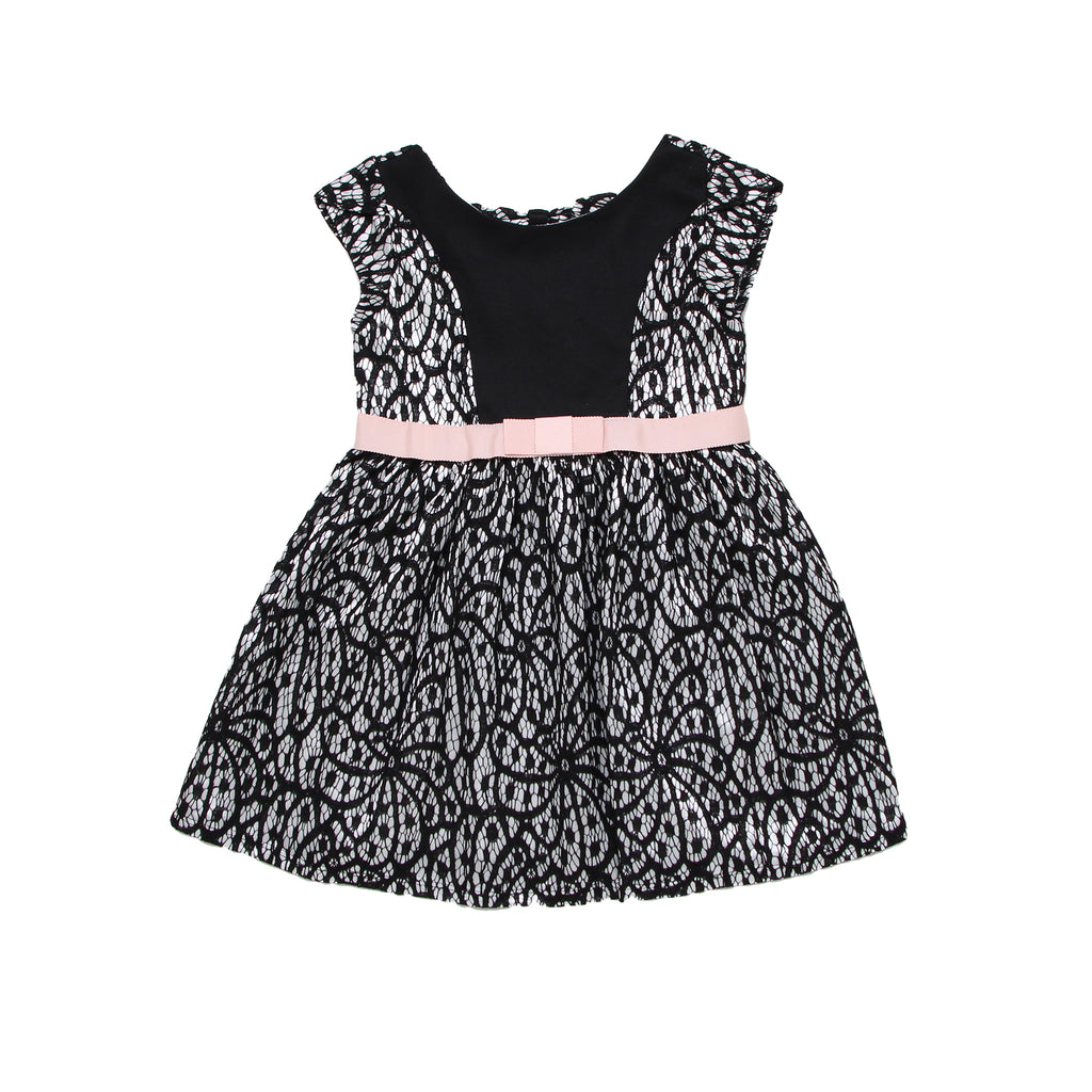 Toddler girls sleeveless fancy formal dress with white liner and black lace overlay skirt baby pink waist sash with bow