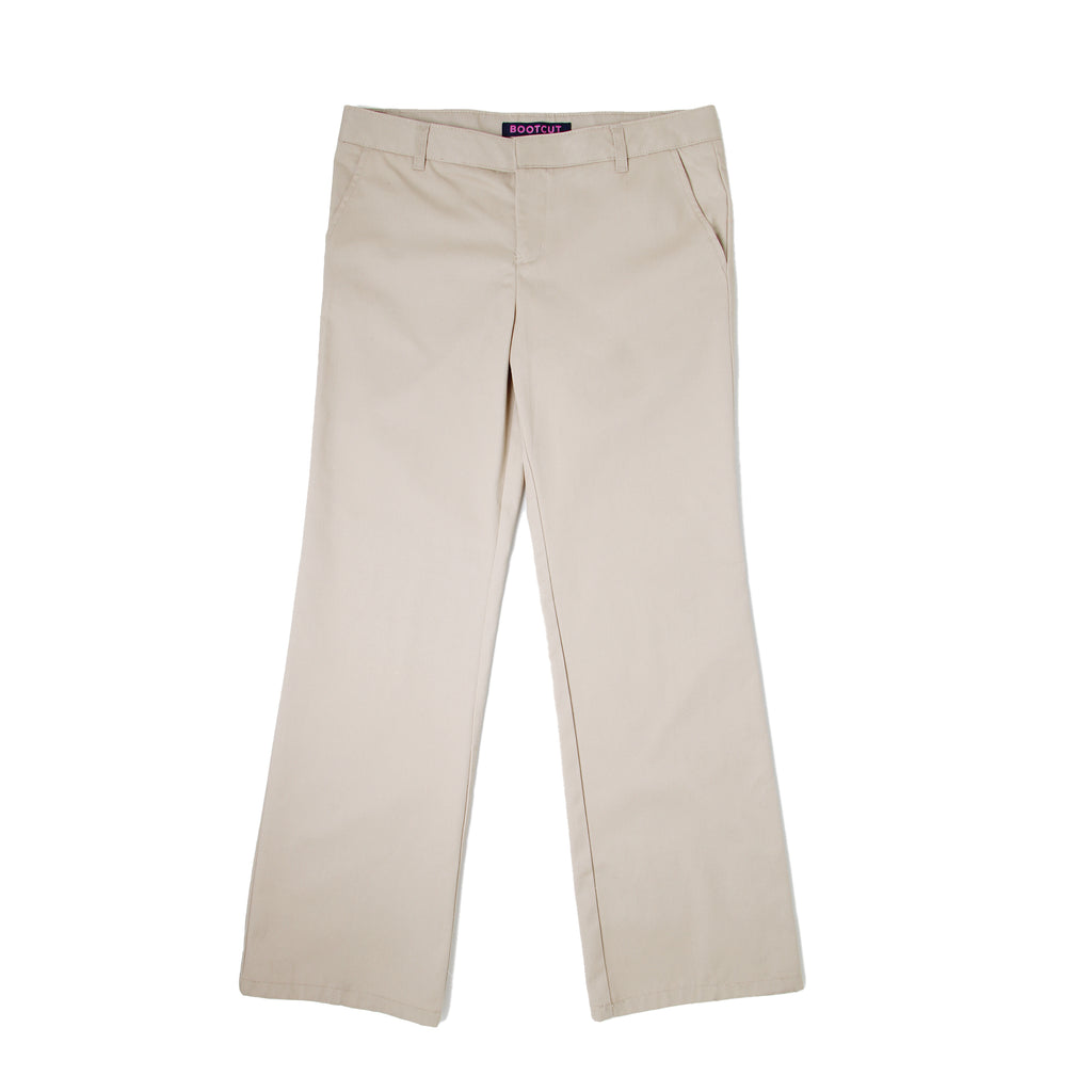 Front of girls school uniform khaki tan beige dress pant slacks
