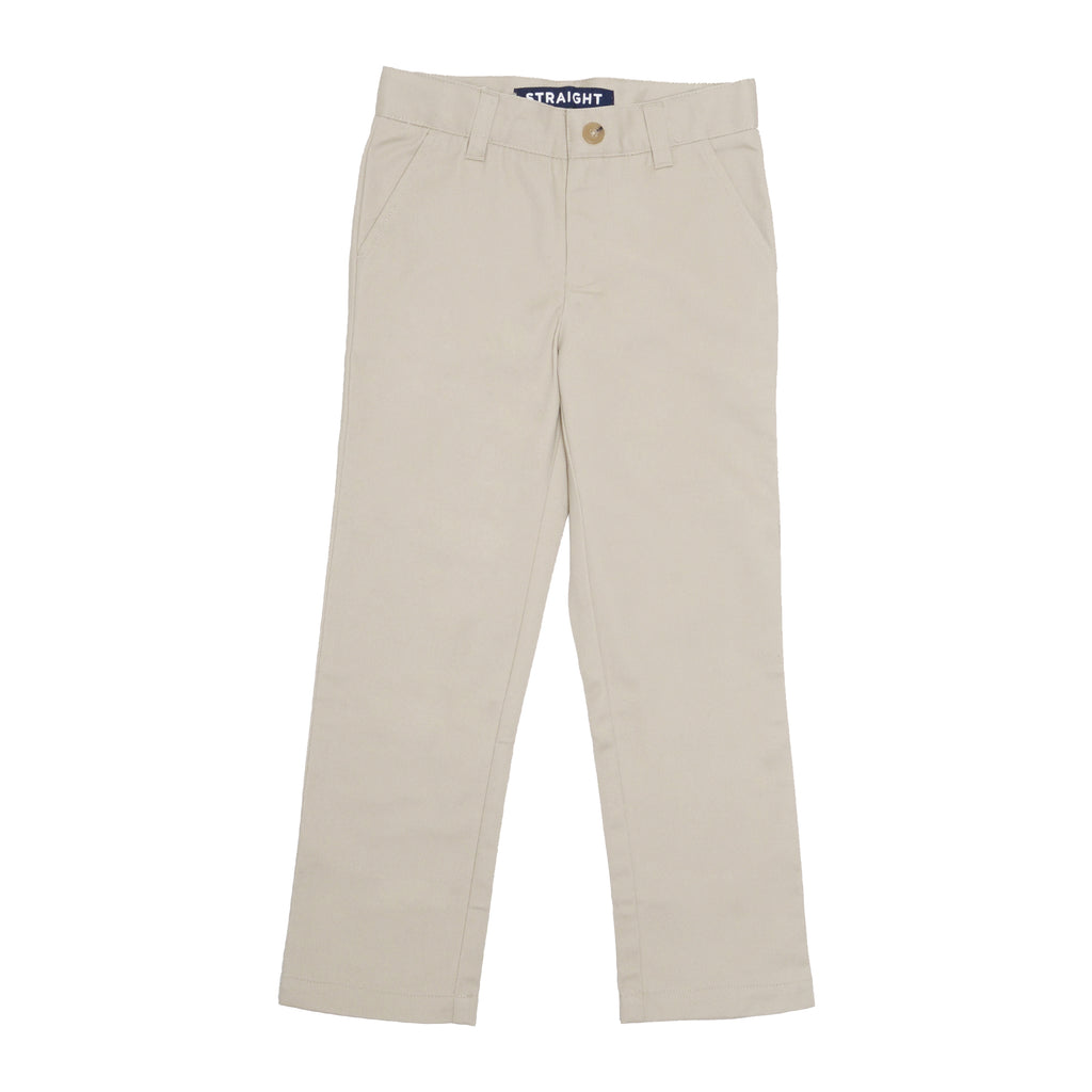 Khaki tan beige boys school uniform straight leg dress pant slack with front pockets