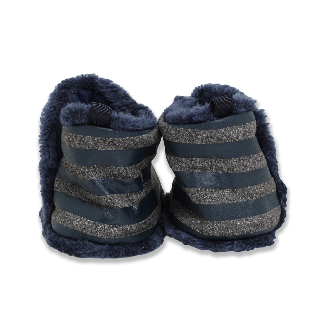 Gold Bug Baby Boys Soft Sole Faux Fur Ankle Boots with Faux Fur Trim and Non Slip Grippers On Bottom