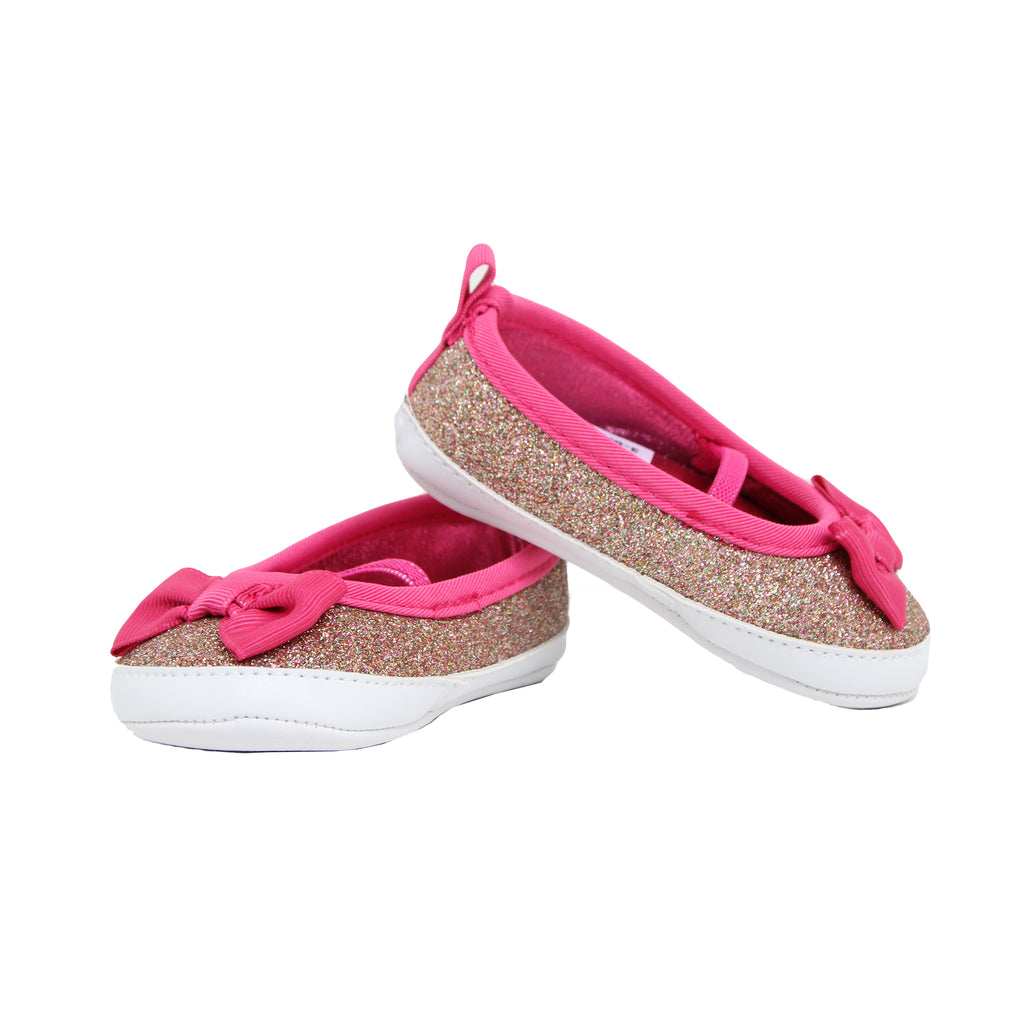 Goldbug Baby Girls Slip On Glitter Ballet Flat Sneaker With Bow Shoes with Glitter Design and 3D Ribbon Bow